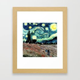 Monet's Poppies with Van Gogh's Starry Night Sky Framed Art Print