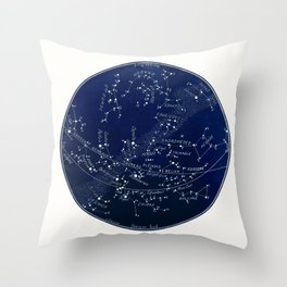 French January Star Map in Deep Navy & Black, Astronomy, Constellation, Celestial Throw Pillow