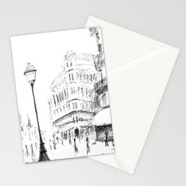 Sketch of a Street in Paris Stationery Cards