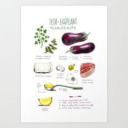 illustrated recipes: feta and eggplant meatballs Art Print