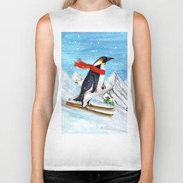 Penguin Alpine Skiing Biker Tank