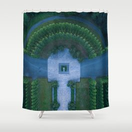 berlin russia memorial drone aerial view park statue garden Shower Curtain