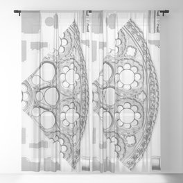 Notre Dame Rose Window Facade Architecture Sheer Curtain