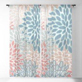 Festive, Floral Prints, Teal, Coral, Peach Sheer Curtain