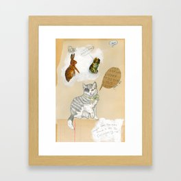 Calculating Cat Framed Art Print