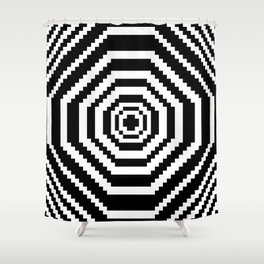 Pixel Manic Confusion. Shower Curtain