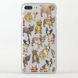French Bulldog pattern Clear iPhone Case