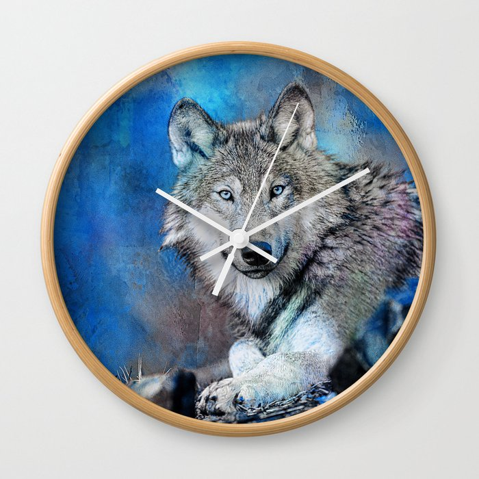Blue Wolf Wildlife Mixed Media Art Wall Clock