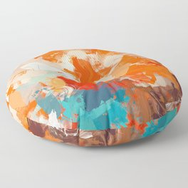 Pleasure, Abstract Brush Strokes Summer Painting, Pop of Color Bright Floor Pillow