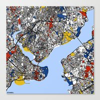 istanbul Canvas Prints featuring Istanbul by Mondrian Maps