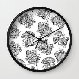 Black and White Mushroom Lineart Mandala Design Wall Clock