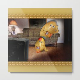 Father And Son Couch Potatoes Metal Print
