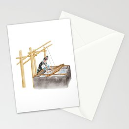 Watercolor Illustration of a Chinese Miao girl making paper in ancient way   丹寨造纸 Stationery Cards