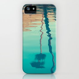 Sunset and Palm Trees Reflected in Tropical Pool iPhone Case