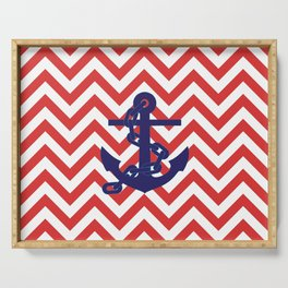 Blue Anchor on Red and White Chevron Pattern Serving Tray