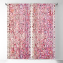 N45 - Pink Vintage Traditional Moroccan Boho & Farmhouse Style Artwork. Blackout Curtain