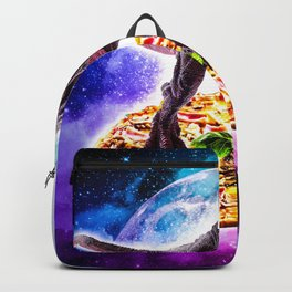 Tyrannosaurus Rex Dinosaur Riding Pizza In Space Backpack