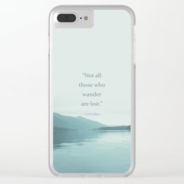 Blue Lake + Tolkien Quote Clear iPhone Case