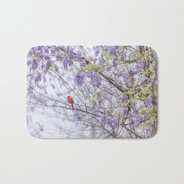 Cardinal and wisteria Bath Mat