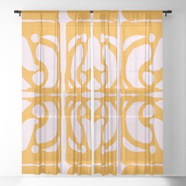 Abstract in Yellow and Cream Sheer Curtain