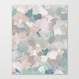 Mint Seafoam Green Dusty Rose Blush Pink Abstract Nature Flower Wall Art, Spring Painting Print Canvas Print
