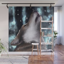 Howling wolf Wall Mural