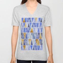 Blue Gold Geometrical Tribal Ethnic Triangles Pattern Unisex V-Neck