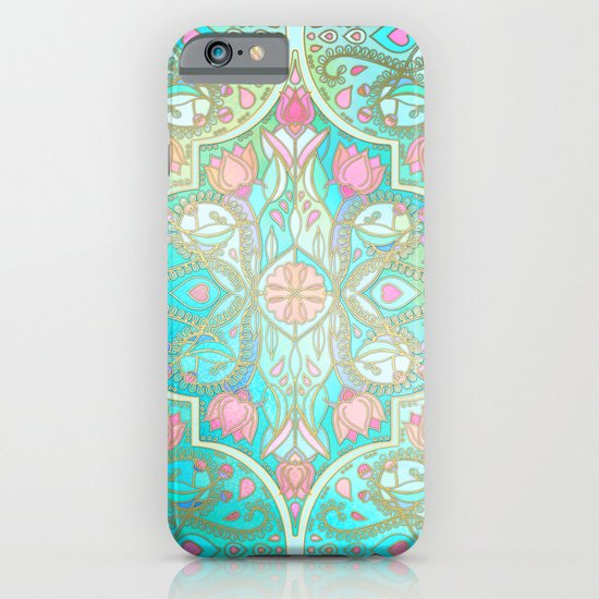 Floral Moroccan in Spring Pastels - Aqua, Pink, Mint & Peach iPhone & iPod Case