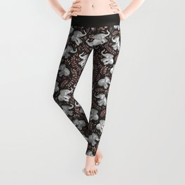 Laughing Baby Elephants - Coral Leggings