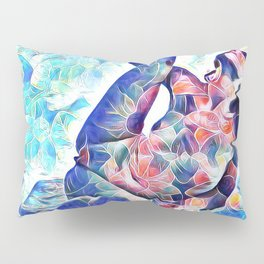 3047-JPC Abstract Nude in Blue Green Yoga Stretch Feminine Power Pillow Sham