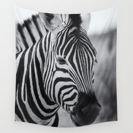 Portrait of a Plains Zebra bw Wall Tapestry