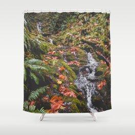 PNW Fall Waterfall Shower Curtain