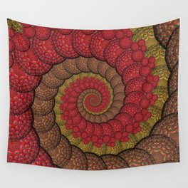 Red and Orange Hippie Fractal Pattern Wall Tapestry