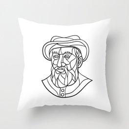 Ferdinand Magellan Mosaic Black and White Throw Pillow