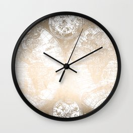 Antique White Gold World Map Wall Clock