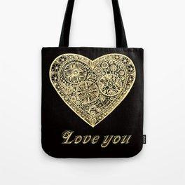 golden heart I love you Tote Bag