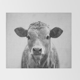 Cow 2 - Black & White Throw Blanket