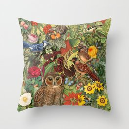 birds flowers and insects Throw Pillow
