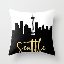 SEATTLE WASHINGTON DESIGNER SILHOUETTE SKYLINE ART Throw Pillow