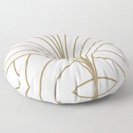 Round Series Floral Burst Gold on White Floor Pillow