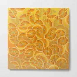 Orange Slices and Juice Metal Print