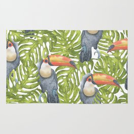 Watercolor Toucan Painting With Tropical Leaves Pattern Rug