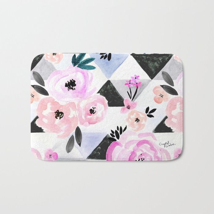Sunset Rose Triangles Bath Mat