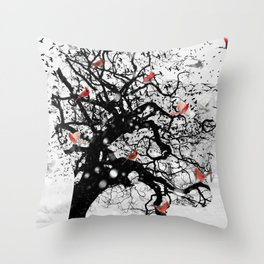 Red Birds in Snow by GEN Z Throw Pillow
