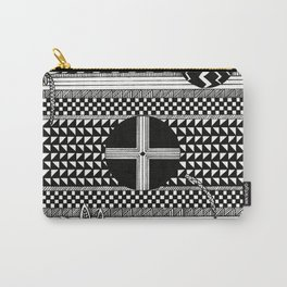 Geometric Pattern with Florals Carry-All Pouch
