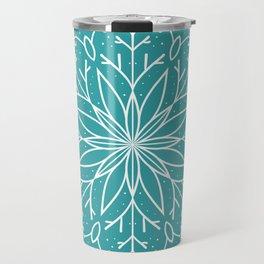 Single Snowflake - Teal Blue Travel Mug