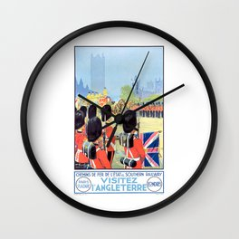 1932 VISIT ENGLAND French Travel Poster Wall Clock