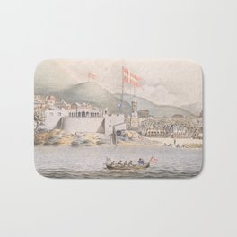 Vintage Pictorial View of Christiansted St Croix (1839) Bath Mat