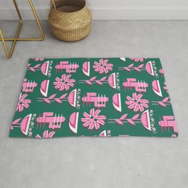 Pink flowers and cacti Rug