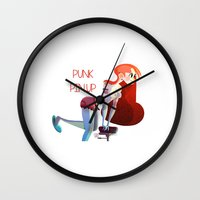 pinup Wall Clocks featuring Punk PinUp by Francesco Malin